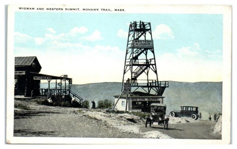 Early 1900s Wigwam and Western Summit, Mohawk Trail, MA Postcard