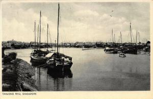 Singapore Tanjong Rhu Harbour Fishing Boats Port Postcard