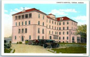 Topeka, Kansas Postcard Christ's Hospital Building / Cars View c1920s Unused