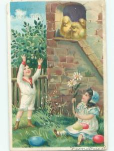 Divided-Back CHILDREN AT EASTER SCENE Great Postcard AA1787