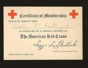 1918 The American Red Cross Worcester Chapter Certificate of Membership Issued