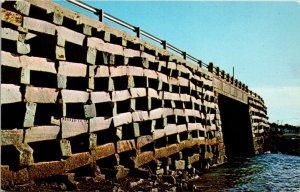 Close Up Famous Cribstone Bridge Bailey Island -Orr's Island ME Unused Postcard