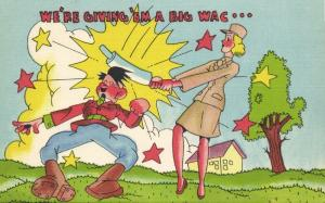 WWII Caricature US Army Female Soldier hits Hitler with Rolling Pin (1940s)