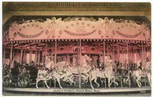 Revere Beach MA  Hurley's Hurdlers Carousel Merry Go Round Postcard