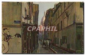 Postcard Old Paris Montmartre Rue Saint Rustique and Basilica
