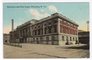 Baltimore & Ohio Train Depot Wheeling West Virginia 1914 postcard