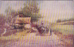 Horses With Wagon Load Of Hay Haying Time