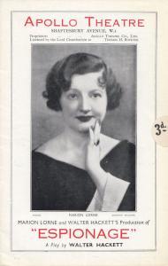 Espionage Marion Lorne Walter Hackett Spy Drama Apollo Theatre Programme