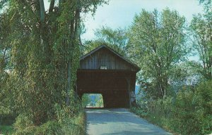 Postcard Old Covered Bridge Pittsford Vermont Posted 1969