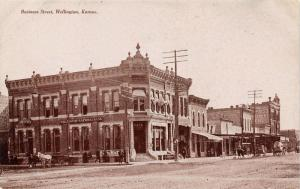 Wellington Kansas~Main Street~National Bank~Dentist~Realty~Confectionery~1910