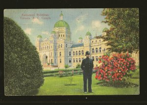 Postmarked 1938 Parliament Buildings Victoria BC Linen Postcard