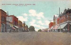 Superior Nebraska~Storefronts~Main Street Looking North~Wide Dirt Road~1908 PC