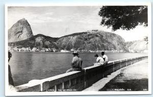 *Urca Rio de Janeiro Brazil Brasil Sitting on Wall Vintage Photo Postcard C43