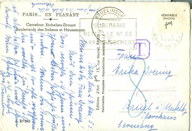 France, Paris, 1955 used real photo Postcard