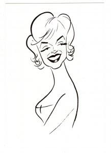 Large 5 X 7  Marilyn Monroe, Caricature, 1959