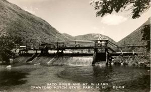 NH - Crawford Notch State Park. Saco River, Mt Willard, Dam at Willey House  ...
