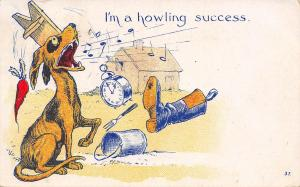 Comic Pun~I'm a Howling Success~Dog Sings~Junk Thrown at Him From Window~1907 PC