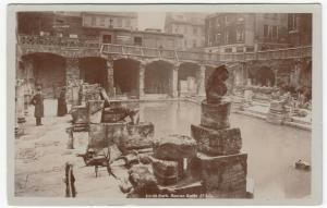 Somerset; Bath, Roman Baths 25135, Note Staff RP PPC, 1909, TO Miss Clark, Rigby
