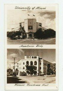 RPPC University of Miami  Anastasia Bldg and Women's Residence Vintage Postcard