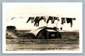 HOME IN THE ALEUTIANS AK 1945 VINTAGE REAL PHOTO POSTCARD RPPC
