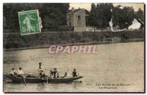 Old Postcard The Banks of the Marne The Swimming