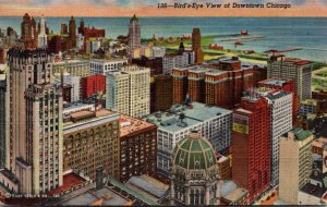 Illinois Chicago Birds Eye View Of Downtown 1946 Curteich