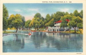 Schenectady New York~Rowboat Near Boathousen @ Central Park~1940s PC