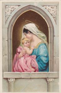 Virgin Mary holding baby Jesus in window frame, 10-20s