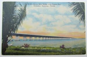 VINTAGE LINEN POSTCARD SEVEN MILE BRIDGE PIGEON KEY OVERSEAS HIGHWAY FLORIDA