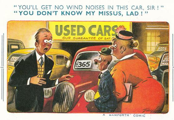 Wartime Car Dealer Wind Ing Noises From Vehicle Comic Humour Postcard
