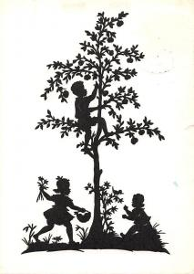 Silhouette Fantasy Children Apple Fruits Tree