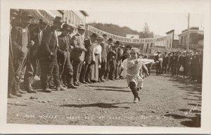 Hazelton BC Labour Day Celebrations 1911 Children Racing WWW RPPC Postcard G81
