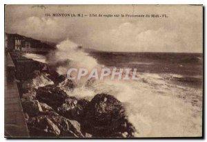 Old Postcard Menton M Wave Effect on the Promenade du Midi