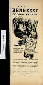 1938 Hennessy Cognac Brandy Stinger Cocktail Recipe Vintage Print Ad 4155