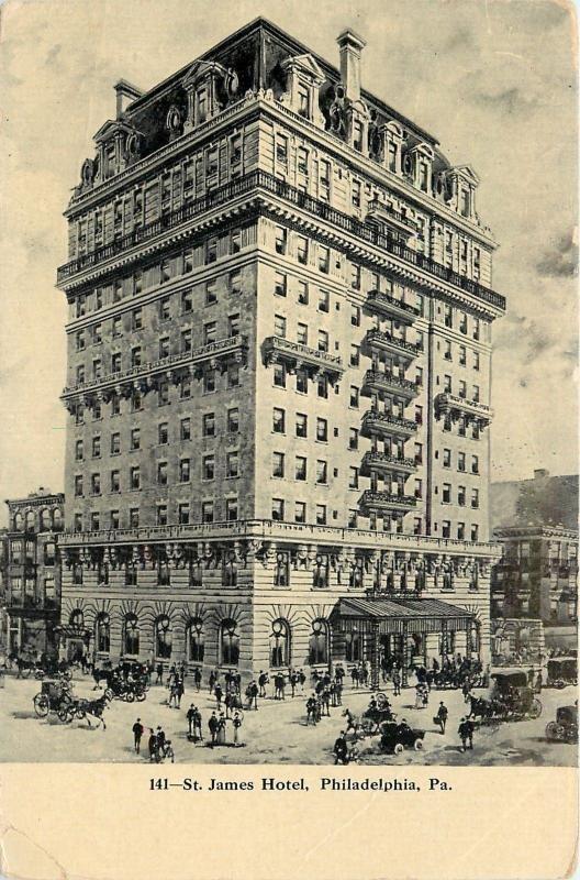Philadelphia Pennsylvania St James Hotel Crowds Horse Buggies 1907