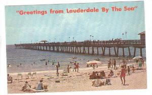 Fishing from the modern pier and bathing, Fort Lauderdale, Florida,   40-60s