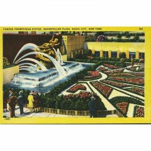 Herbco Card Co. 'Colourpicture' Linen Postcard 'Famous Prometheus Statue, Rockef