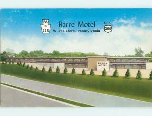 Unused 1950's BARRE MOTEL Wilkes-Barre Pennsylvania PA u6958-19