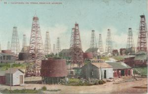 California Oil Wells, Near Los Angeles, CA,  Early Postcard, Unused
