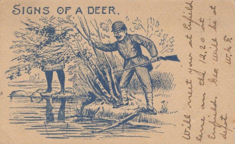 Signs of a Deer Vintage Postcard