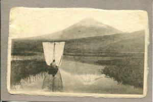 Postcard Japan Traditional Wasen Boat Sailboat Mountain Waterway c1908 2184M