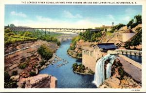 New York Rochester Genesee River Gorge Driving Park Avenue Bridge and Lower F...