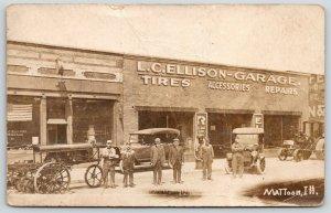 Mattoon Illinois~LC Ellison Garage~Autos & Mechanics Out Front~Repairs~1910 RPPC