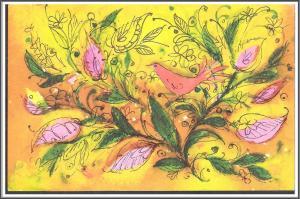 Flowers Birds Hallmark Postcard - (MX-049)
