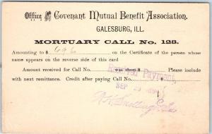1894 Galesburg IL Ad Postcard Covenant Mutual Benefit Assoc MORTUARY CALL No 128