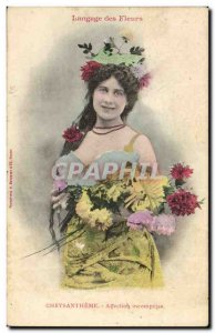 Old Postcard Fantasy Woman Chrysanthemum Flowers Language