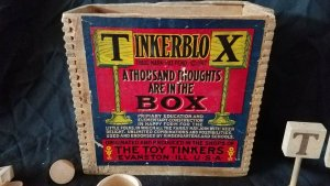 c1890 TINKERBLOX GAME Tinker Toys ADVERTISING Blocks WOODEN BOX Dove Tailed WOW!