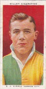Wills Cigarette Card Association Footballers No 44 E J Vinall Norwich City