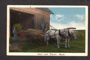 ME Farming Haying Horses Scene Fayette Maine Postcard Vintage