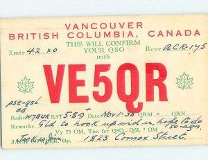 1930s QSL RADIO CARD Vancouver British Columbia BC AH3153